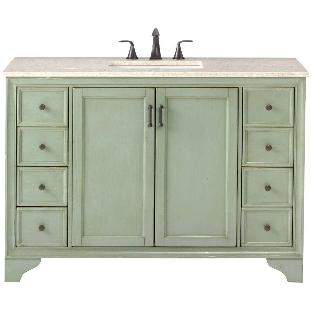 Home Decorators Collection Hazelton 49 In W X 22 In D Bath Vanity In Antique Green With Marble