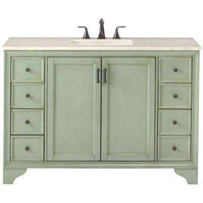 Hazelton 49 in. W x 22 in. D Bath Vanity in Antique Green with Marble Vanity Top in Beige