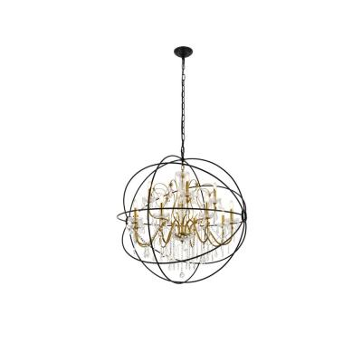 Timeless Home Cara 43.5 in. W x 46 in. H 12-Light Black and Gold Pendant