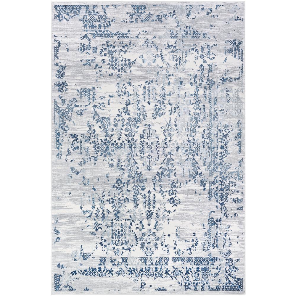 Calinda Samovar Steel Blue-Ivory 9 ft. x 12 ft. Area Rug