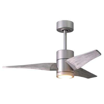 Super Janet 42 in. LED Indoor/Outdoor Damp Brushed Nickel Ceiling Fan with Light with Remote Control and Wall Control