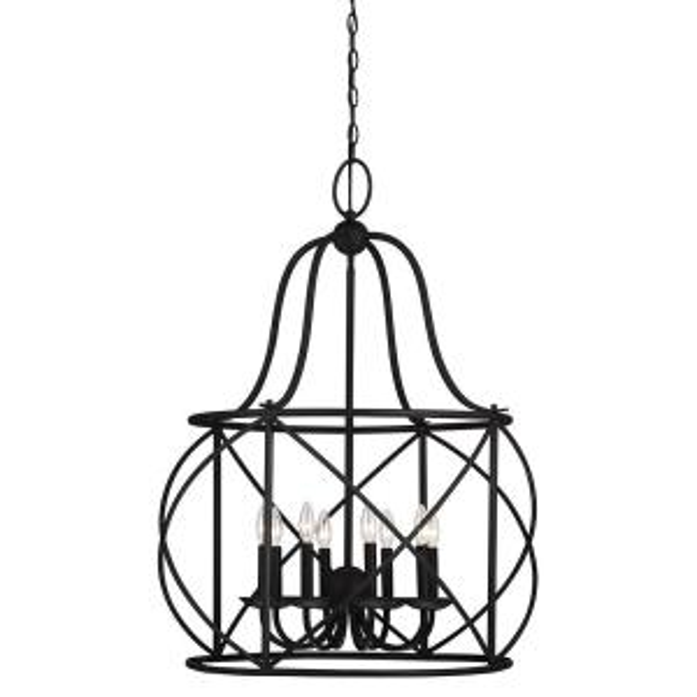 Turbinio 29.5 in. W x 37.75 in. H 8-Light Textured Black Hall/Foyer Pendant Large Rustic Cage Metal Indoor Pendant