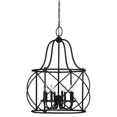 Turbinio 29.5 in. W x 37.75 in. H 8-Light Textured Black Hall/Foyer Pendant Large Rustic Cage Metal Indoor Pendant