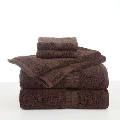 Abundance 6-Piece Cotton Blend Towel Set in Chocolate