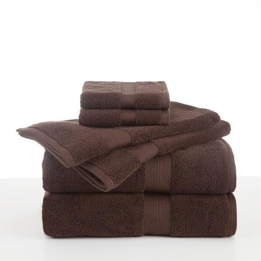 Abundance 6-Piece Chocolate Solid Bath Towel Set