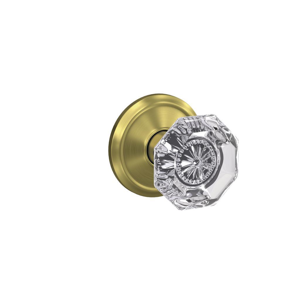 Custom Alexandria Satin Brass Alden Trim Dummy Glass Door Knob