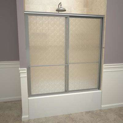 1100 Series 59 in. W x 58-1/2 in. H Framed Sliding Tub Doors in Brushed Nickel with Towel Bars and Obscure Glass