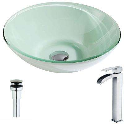 Sonata Series Deco-Glass Vessel Sink in Lustrous Light Green with Key Faucet in Polished Chrome