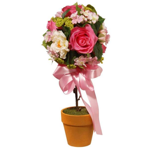 14 in. Rose and Hydrangea Topiary