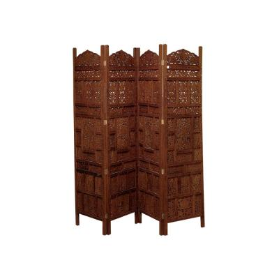 6 ft. Rosewood Brown 4-Panel Hinged Room Divider