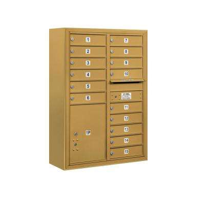 3800 Horizontal Series 15-Compartment with 1-Parcel Locker Surface Mount Mailbox