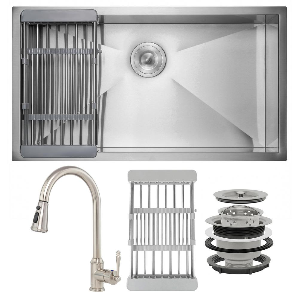 AKDY Handmade All-in-One Undermount Stainless Steel 32 in. x 18 in. Single Bowl Kitchen Sink w/Pull-Down Faucet, Drying Rack, Brushed Stainless Steel was $468.0 now $299.99 (36.0% off)