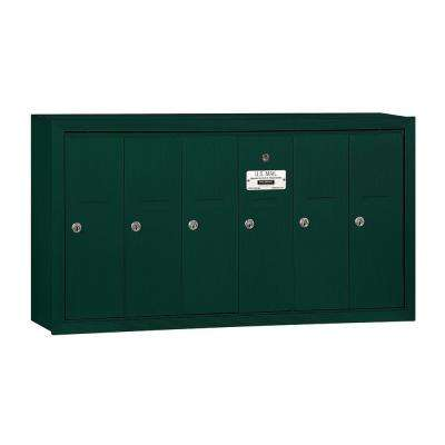 3500 Series Green Surface-Mounted Private Vertical Mailbox with 6 Doors