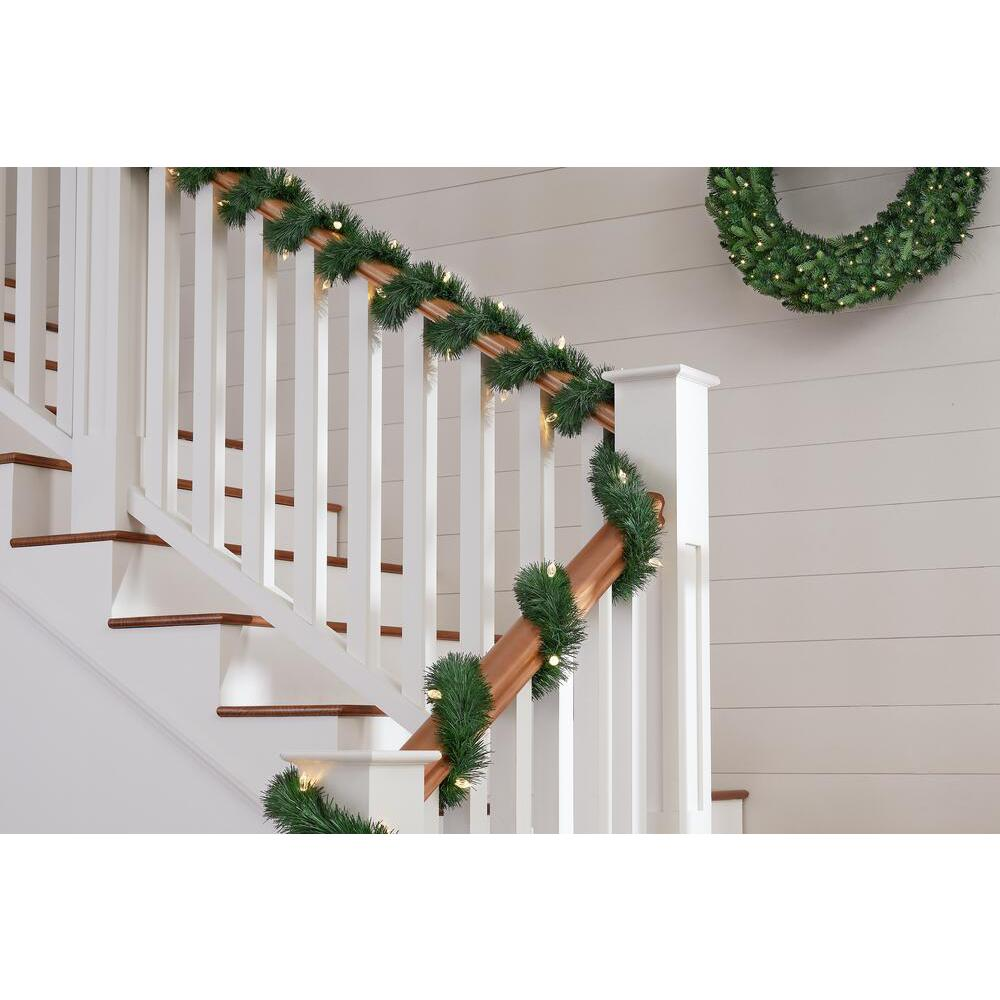 Home Accents Holiday 25 ft Pre Lit LED Artificial Christmas Garland with 50 Color Changing C4 Lights