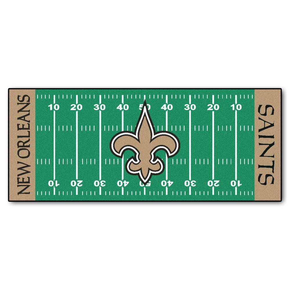 New Orleans Saints 3 ft. x 6 ft. Football Field Rug Runner Rug
