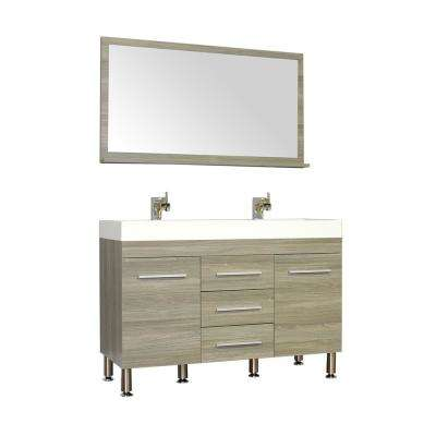 The Modern 47 in. W x 18.75 in. D Bath Vanity in Gray with Acrylic Vanity Top in White with White Basin and Mirror
