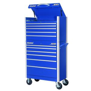 International SHD Series 35 inch 11-Drawer Tool Chest and Cabinet Combo in Blue by International