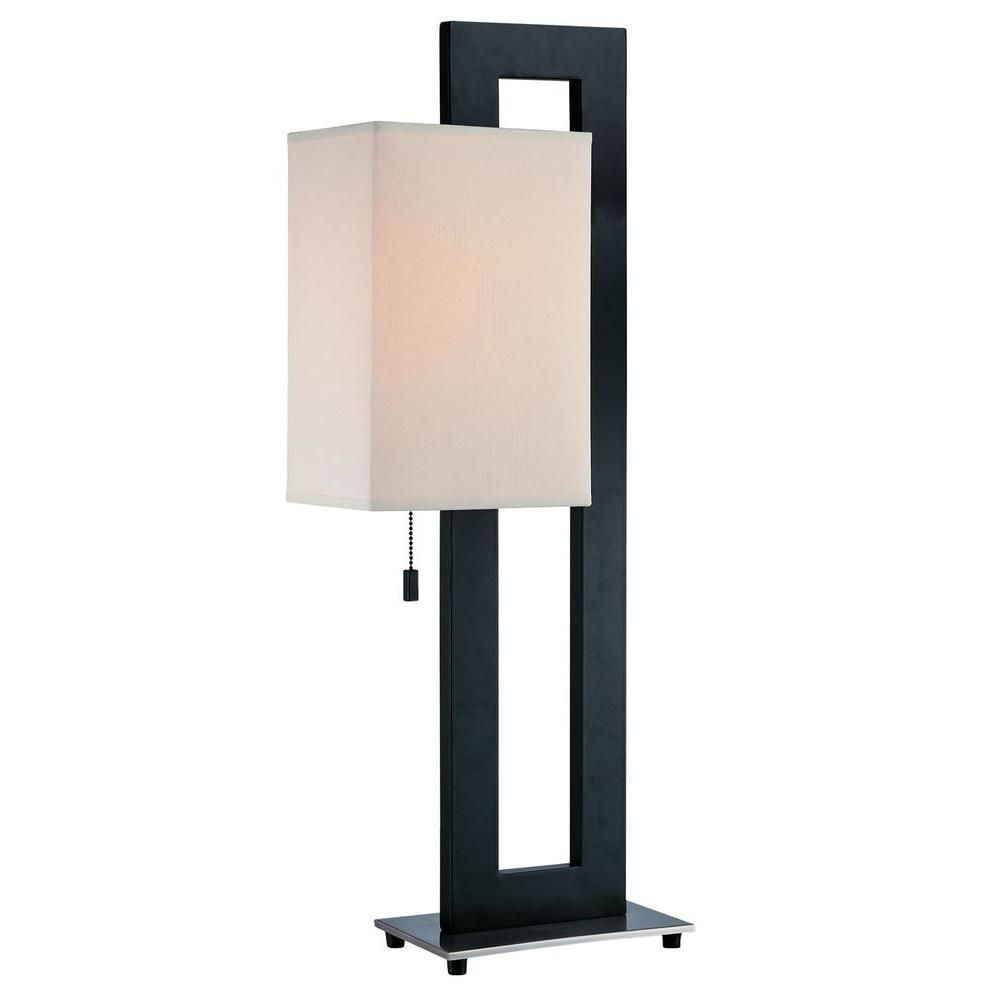 Illumine 30 in. Black Table Lamp with White Fabric Shade