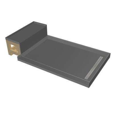 42 in. x 72 in. Single Threshold Shower Base in Gray and Bench Kit with Right Drain and Polished Chrome Trench Grate