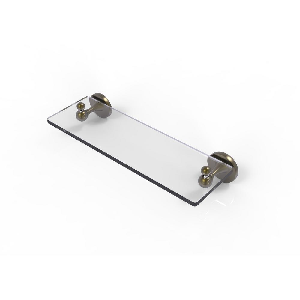 Allied Brass Shadwell Collection 16 in. W  Glass Vanity Shelf with Beveled Edges in Antique Brass