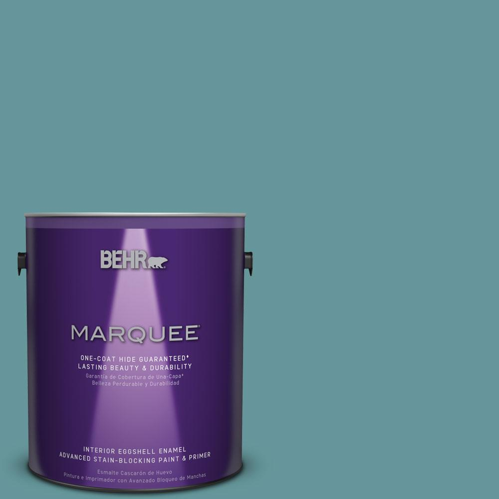 1 gal. #MQ6-33 Vintage Teal One-Coat Hide Eggshell Enamel Interior Paint