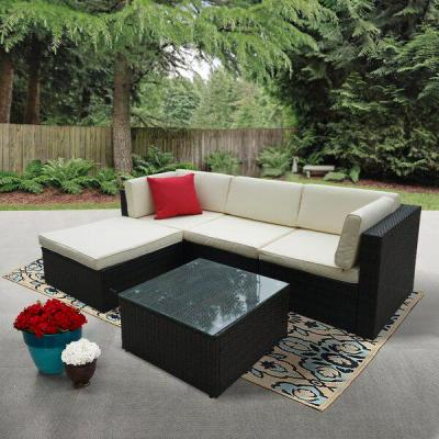 6-Piece Rattan Sectional Seating Group Wicker Outdoor Patio Conversation Furniture Set with Beige Cushions