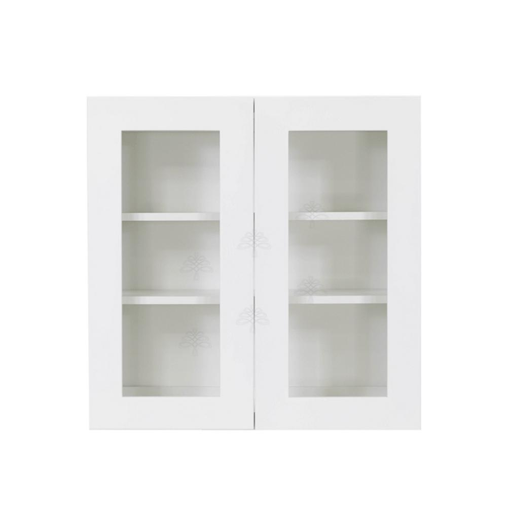 Lifeart Cabinetry Shaker Embled 30x36x12 In Wall Mullion Door Cabinet With 2 Shelf White
