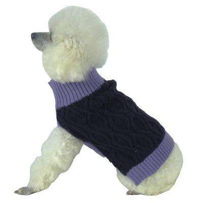 X-Small Lavender and Dark Purple Oval Weaved Heavy Knitted Fashion Designer Dog Sweater