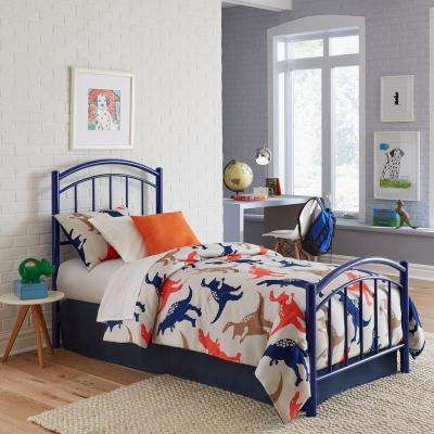 Rylan Cadet Blue Full Kids Bed with Metal Duo Panels