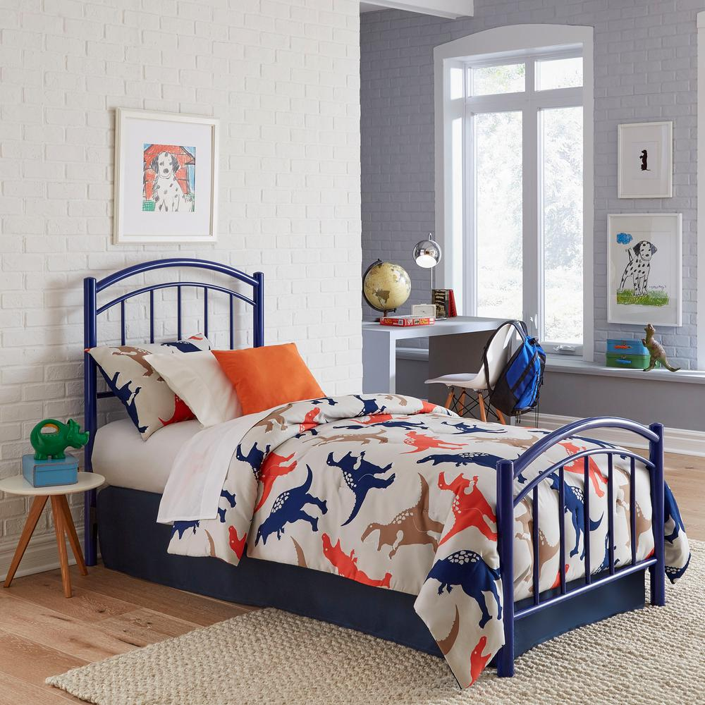 Rylan Cadet Blue Full Headboard and Footboard With Metal Duo Panels