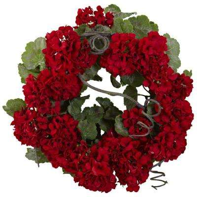 17 in. Geranium Wreath