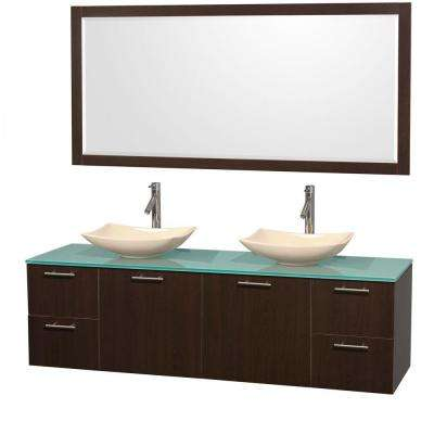 Amare 72 in. Double Vanity in Espresso with Glass Vanity Top in Green, Marble Sinks and 70 in. Mirror