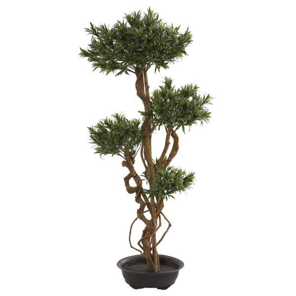 Nearly Natural Indoor 4.5 in. Bonsai Styled Podocarpus Artificial Tree 5557