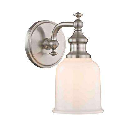 Palermo 1-Light Satin Nickel Sconce with Opal Glass
