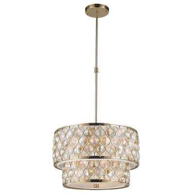 Paris 12-Light Champagne with Clear and Golden Teak Crystal Pendant