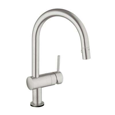Minta Touch Single Handle Pull Down Sprayer Kitchen Faucet In SuperSteel  InfinityFinish