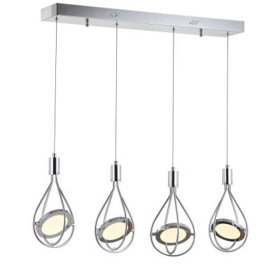 Orion 29 in. 4-Light Adjustable Modern Integrated LED Cluster Chrome Metal Pendant