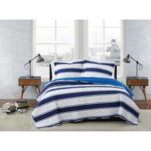 Watkins Stripe White and Blue Polyester 3-Piece Full/Queen Quilt Set