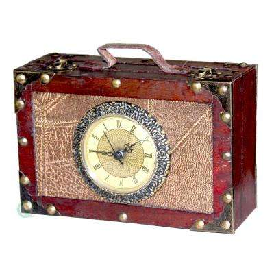 7.8 in. W x 5.1 in. H x 2.8 in. D Wood and Faux Leather Antique Style Suitcase with Clock