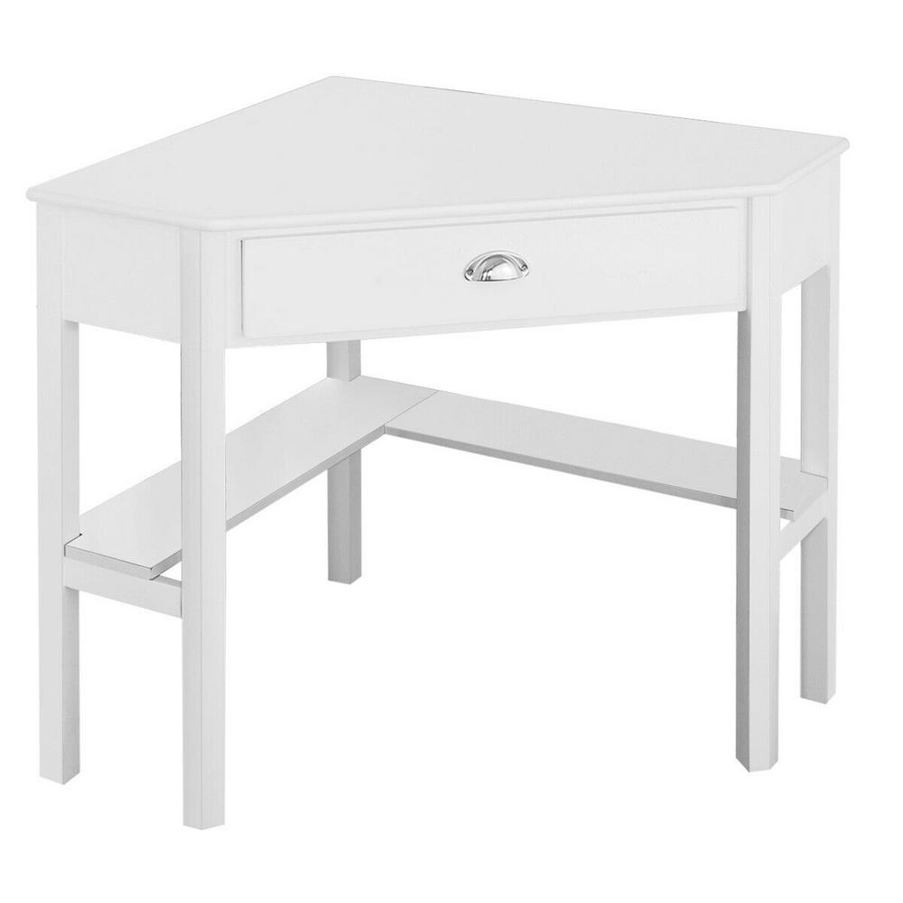 Costway 28 In Corner White 1 Drawer Writing Desks With Solid Wood Design Hm0005 The Home Depot