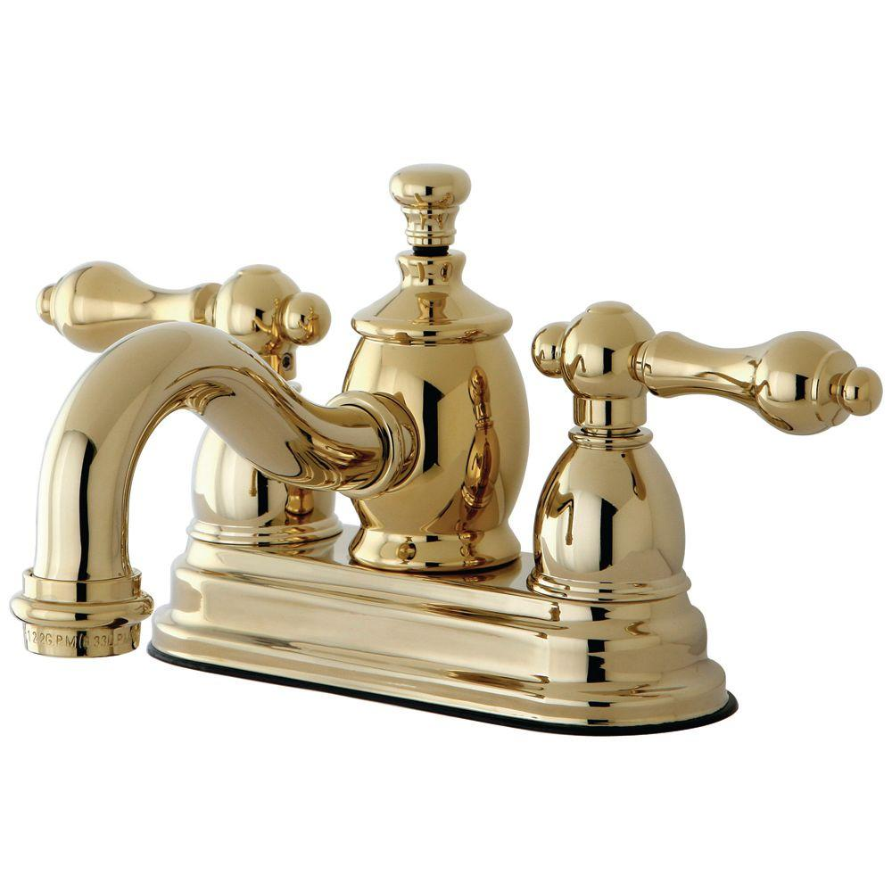 Kingston Brass Victorian 4 In Centerset 2 Handle Mid Arc Bathroom Faucet In Polished Brass