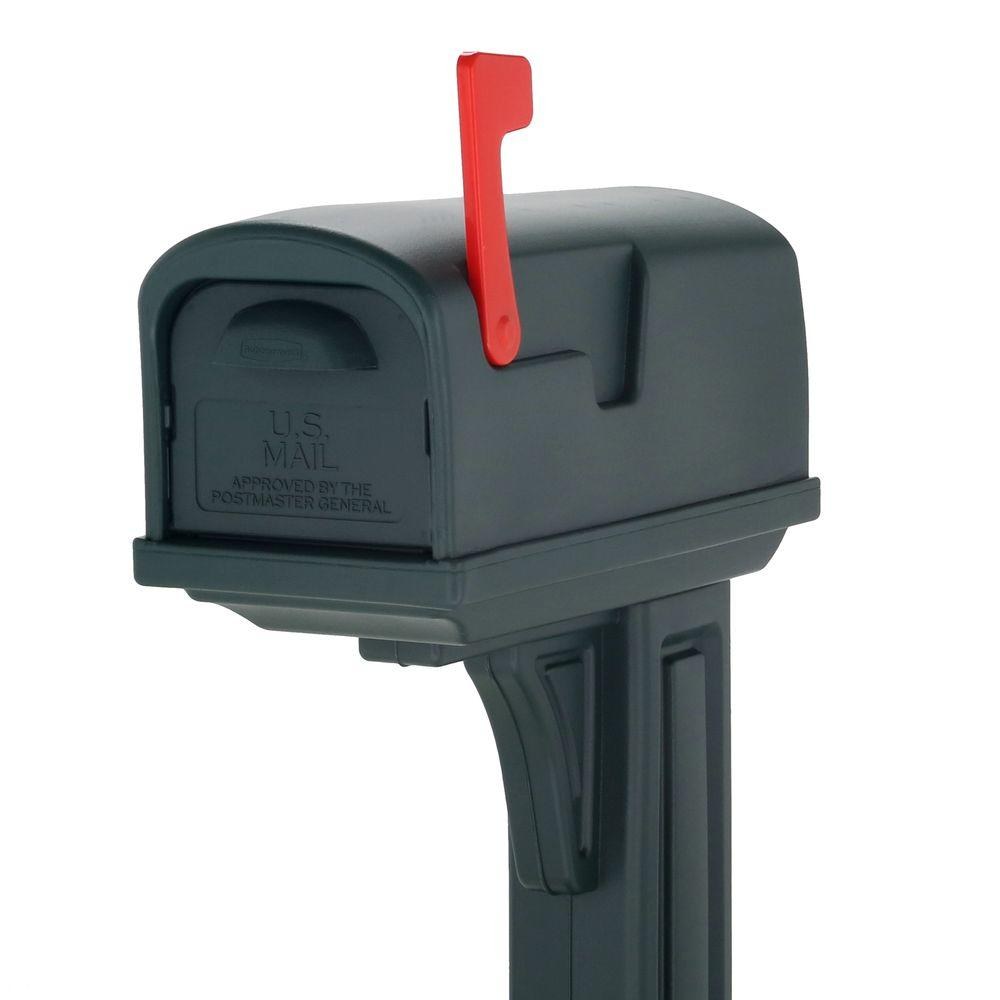Rubbermaid Classic Plastic Mailbox and Post Combo with Double Door in Green