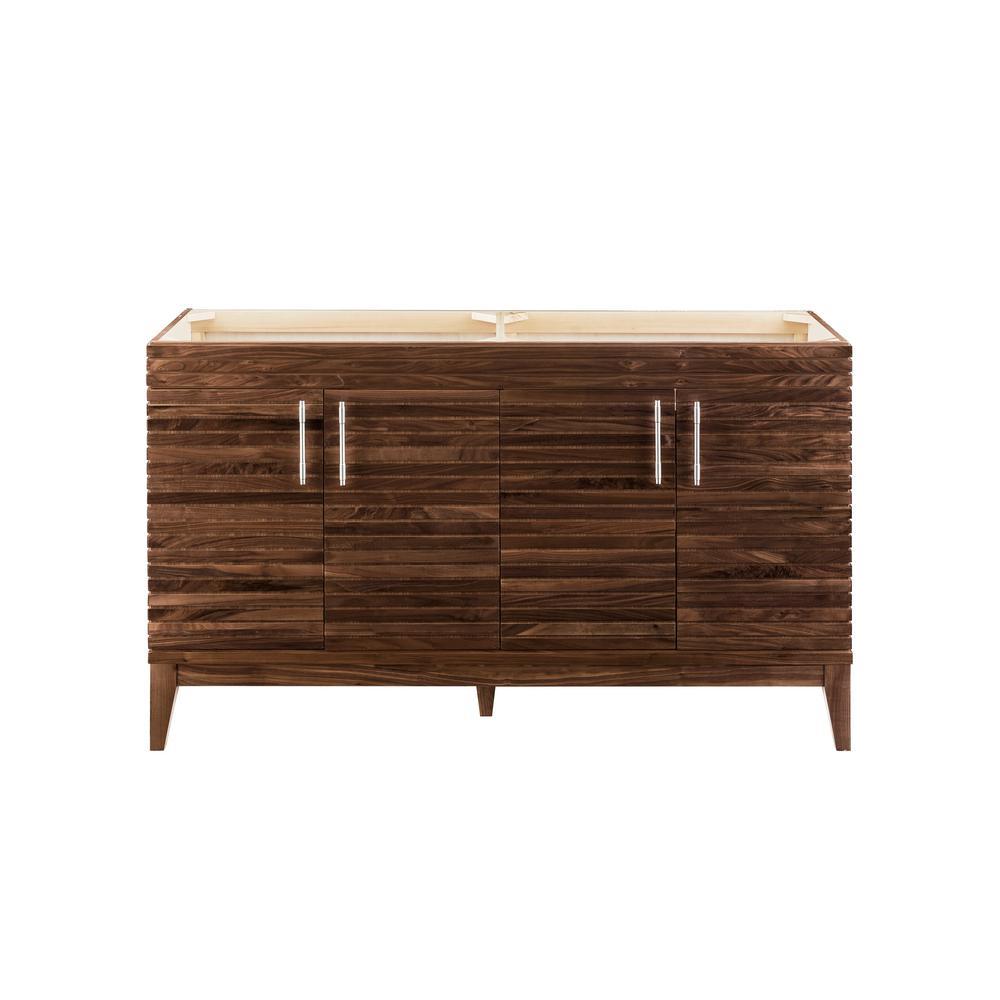 Lineage 58.75 in. W x 17.75 in. D Double Bath Vanity Cabinet Only in Mid-Century Walnut