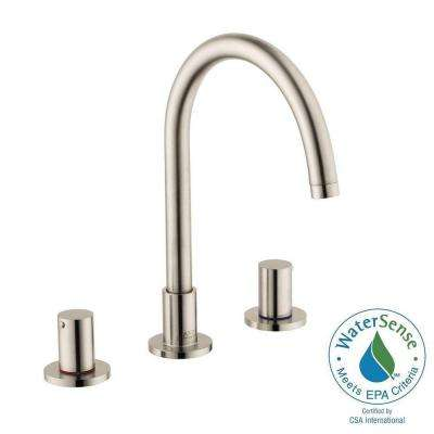 Uno 8 in. Widespread 2-Handle High-Arc Bathroom Faucet in Brushed Nickel