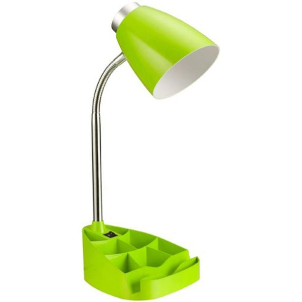 18.5 in. Gooseneck Organizer Desk Lamp with iPad Tablet Stand Book Holder, Green