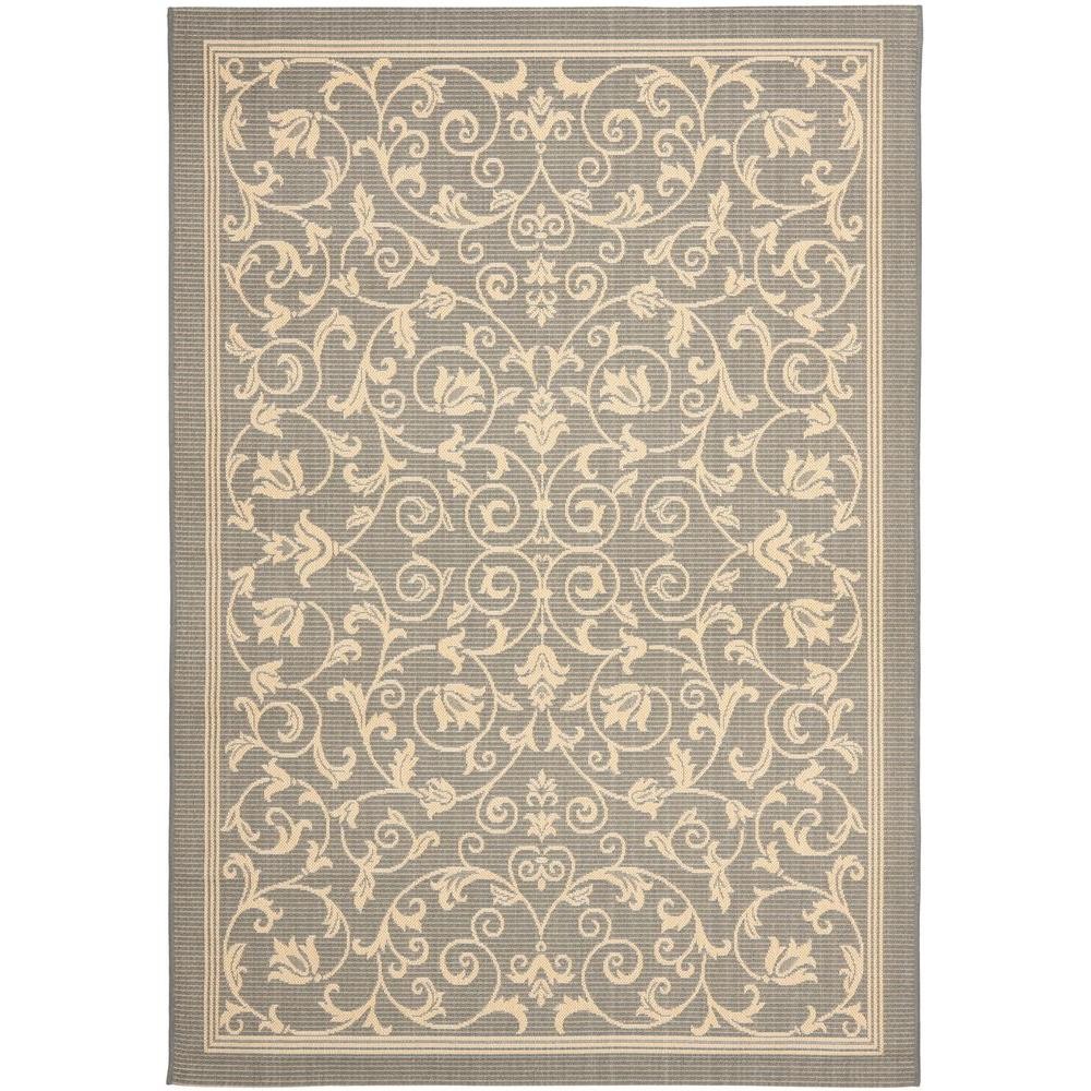 Safavieh Courtyard Gray Natural 8 Ft X 11 Indoor Outdoor Area Rug Cy2098 3606 The Home Depot