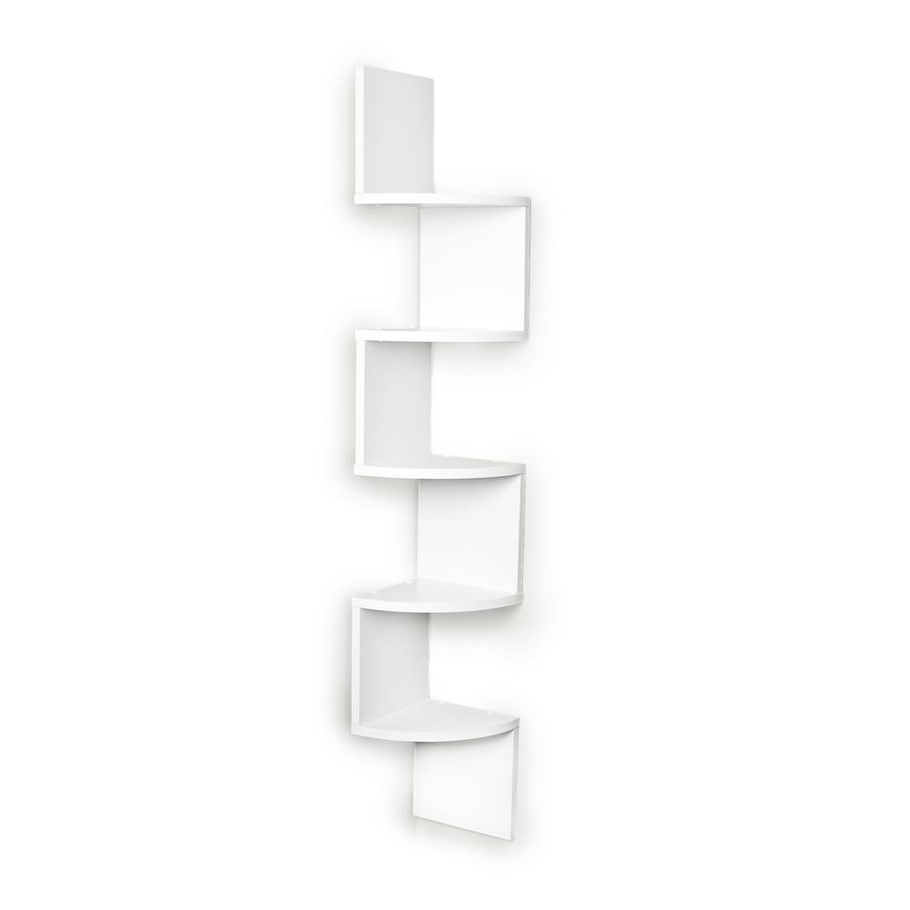DANYA B Zig Zag 7.75 in. W x 7.75 in. D Floating Laminate Corner Wall Decorative Shelf in White Finish