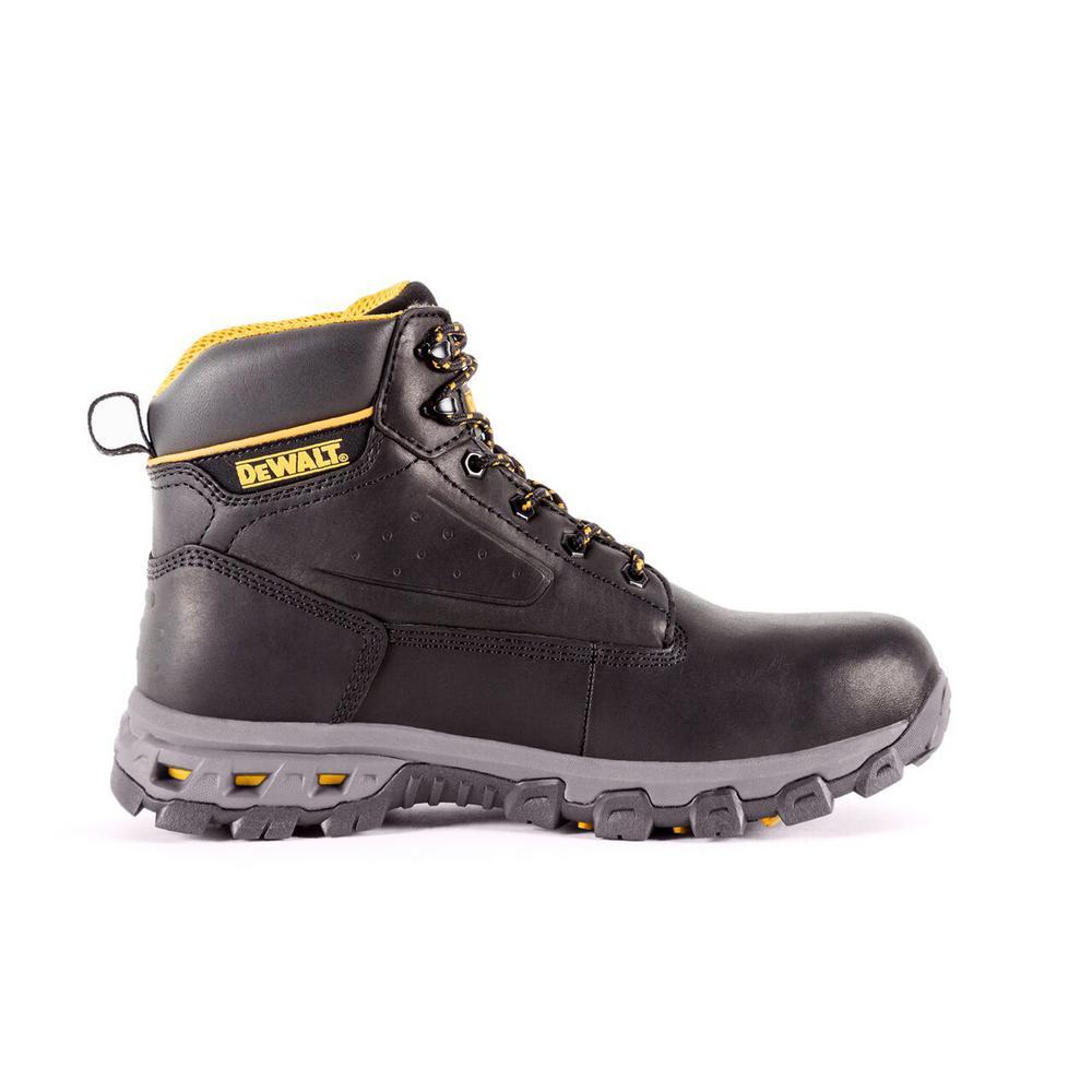 Halogen Men 6 in. Size 9.5(M) Black Leather Aluminum Toe Work Boot