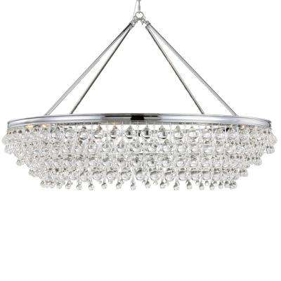 Calypso 8-Light Crystal Teardrop Chrome Chandelier
