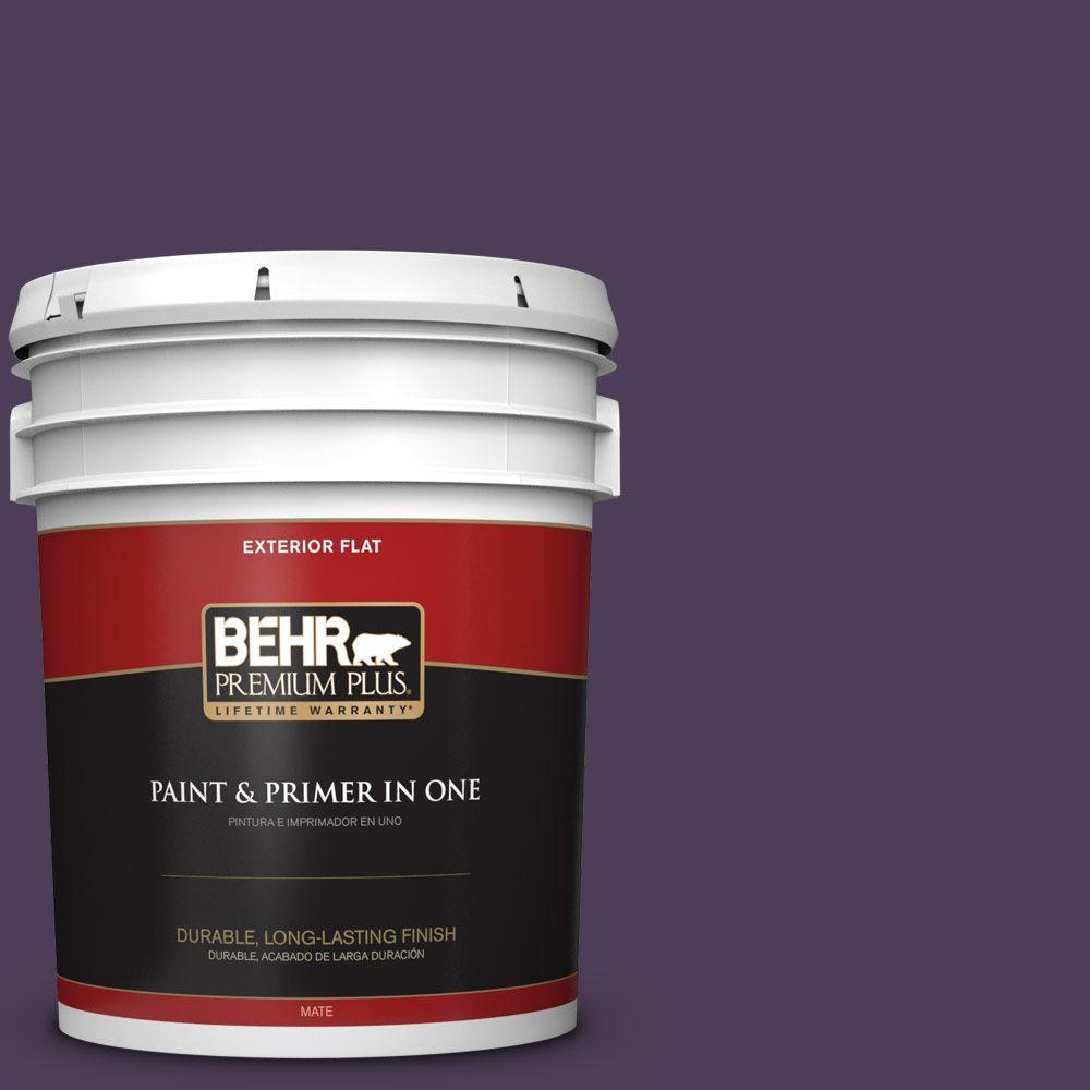 BEHR Premium Plus 5-gal. #S-H-660 Blackberry Harvest Flat Exterior Paint